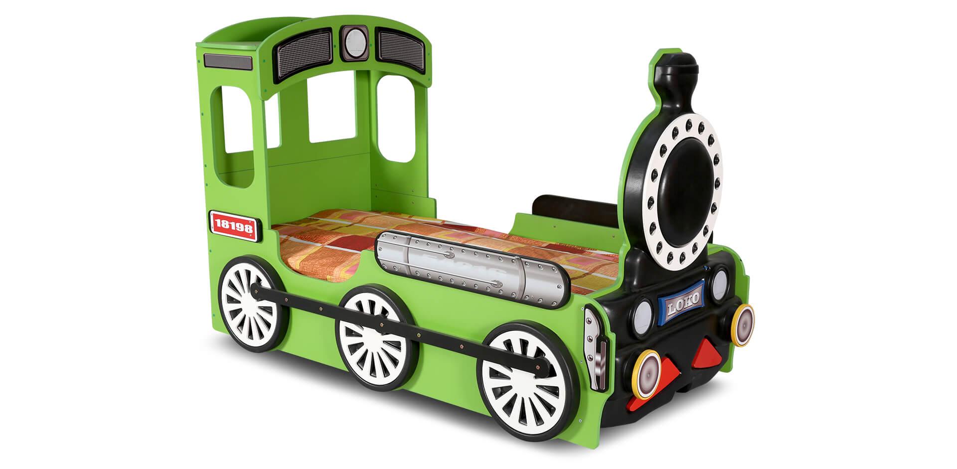 Lokomotive Kinderbett Grün inklusive Matratze