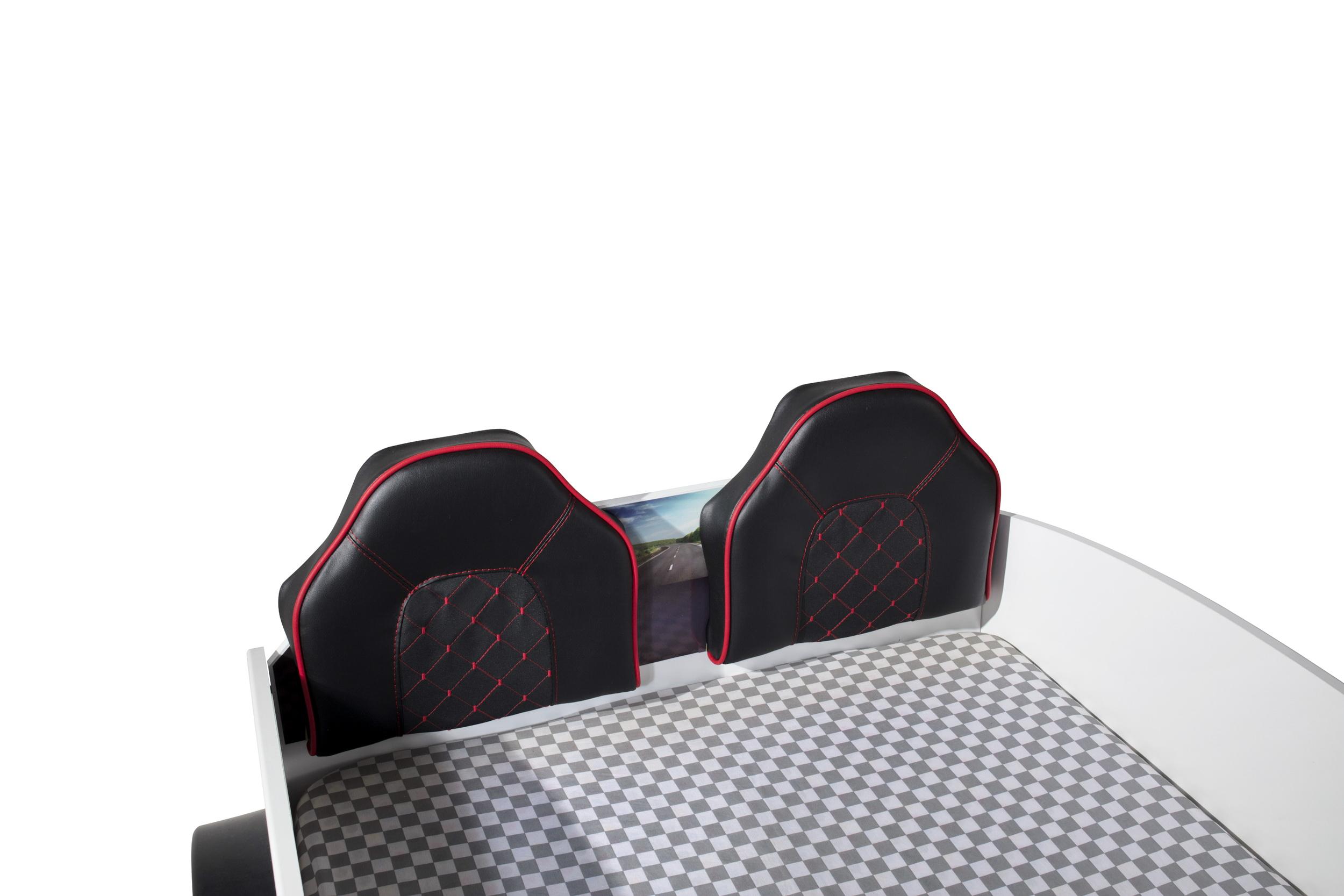 Autobett Sport Polstersitze in Schwarz mit roter Naht