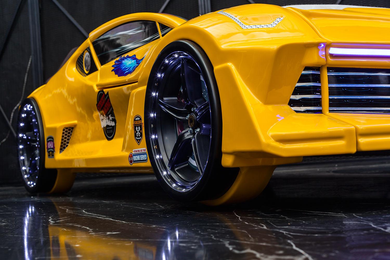 Autobett GT 999 AERO Gelb mit Türen und Sportsitzen