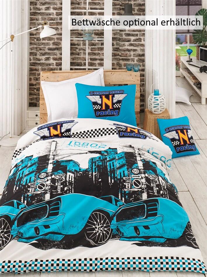 Kinderbettwäsche Set Cool Racer Blau 2-teilig