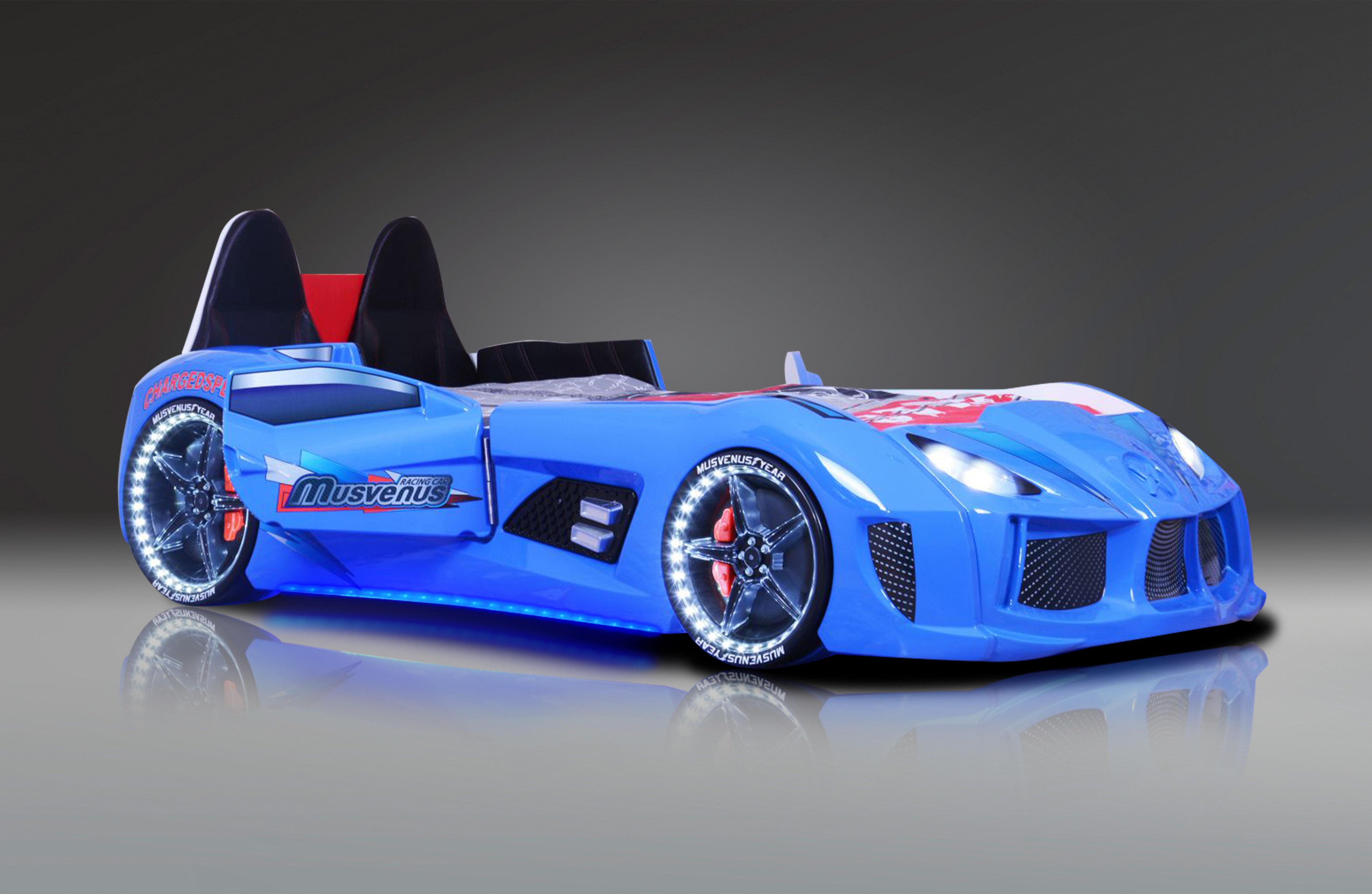 Autobett MVN Bumer Blau mit Türen und Sportsitzen