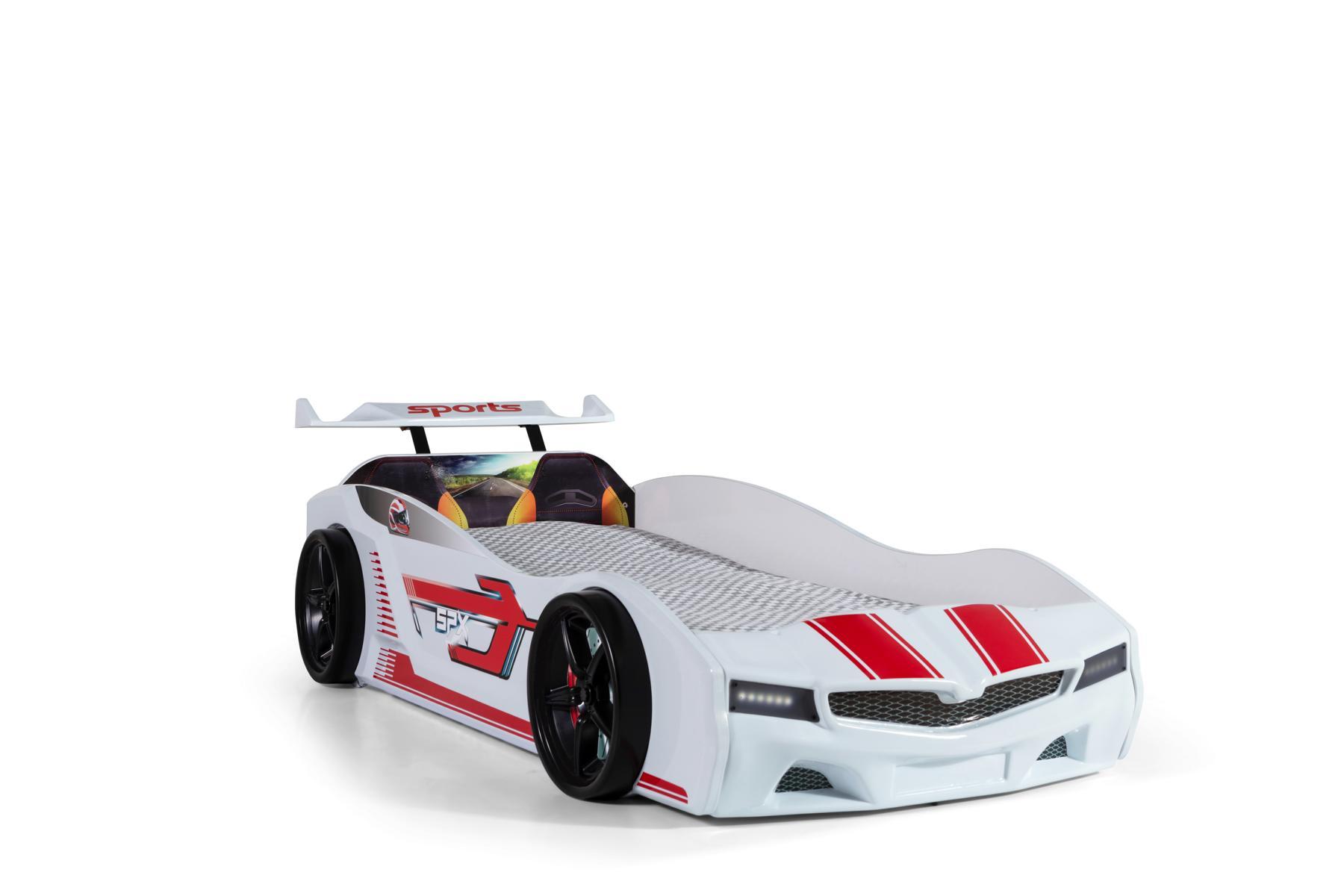 Autobett Bumer SPX weiß mit LED Scheinwerfer