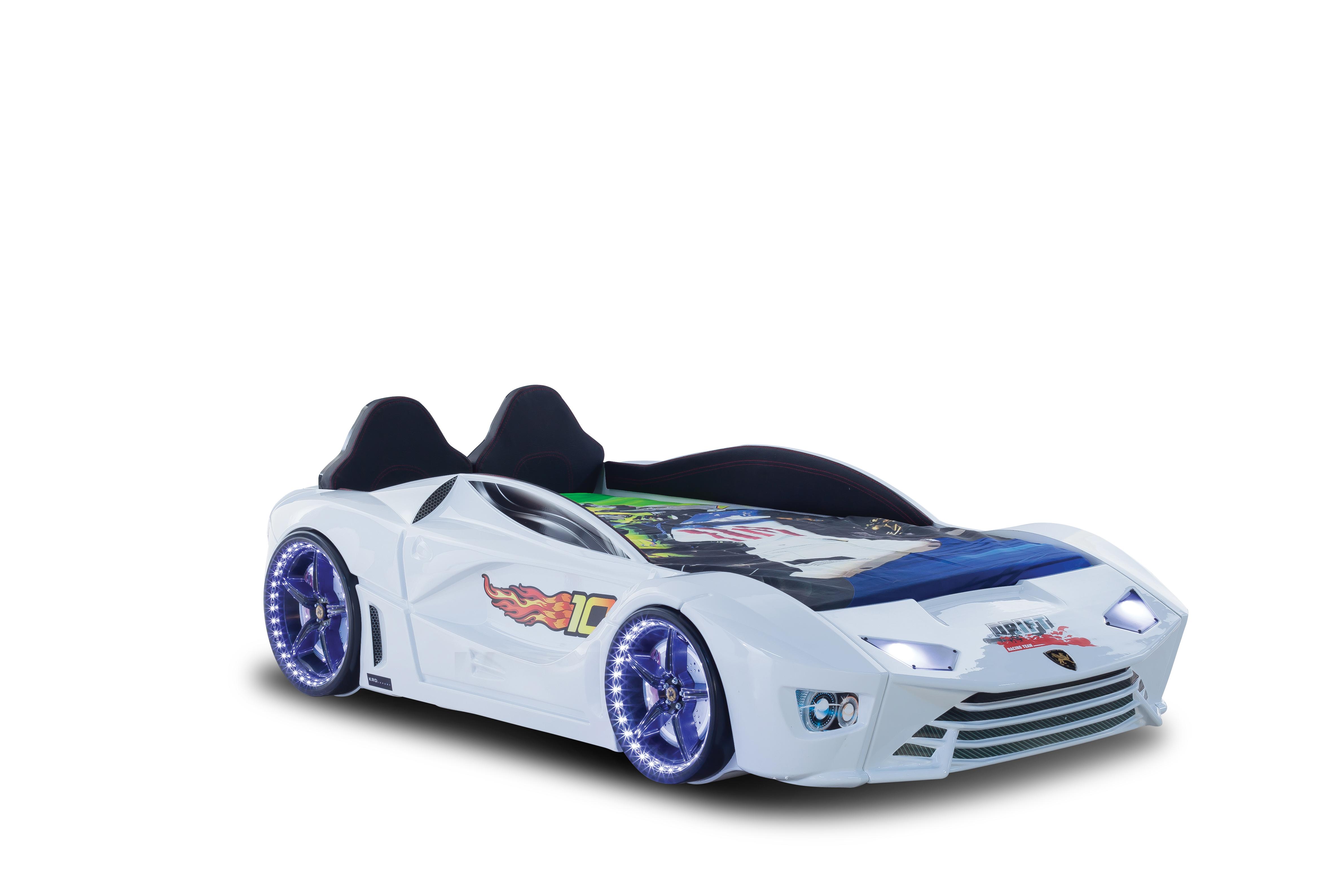 Autobett mit Bluetooth in Weiß Drift mit LED USB und Sound