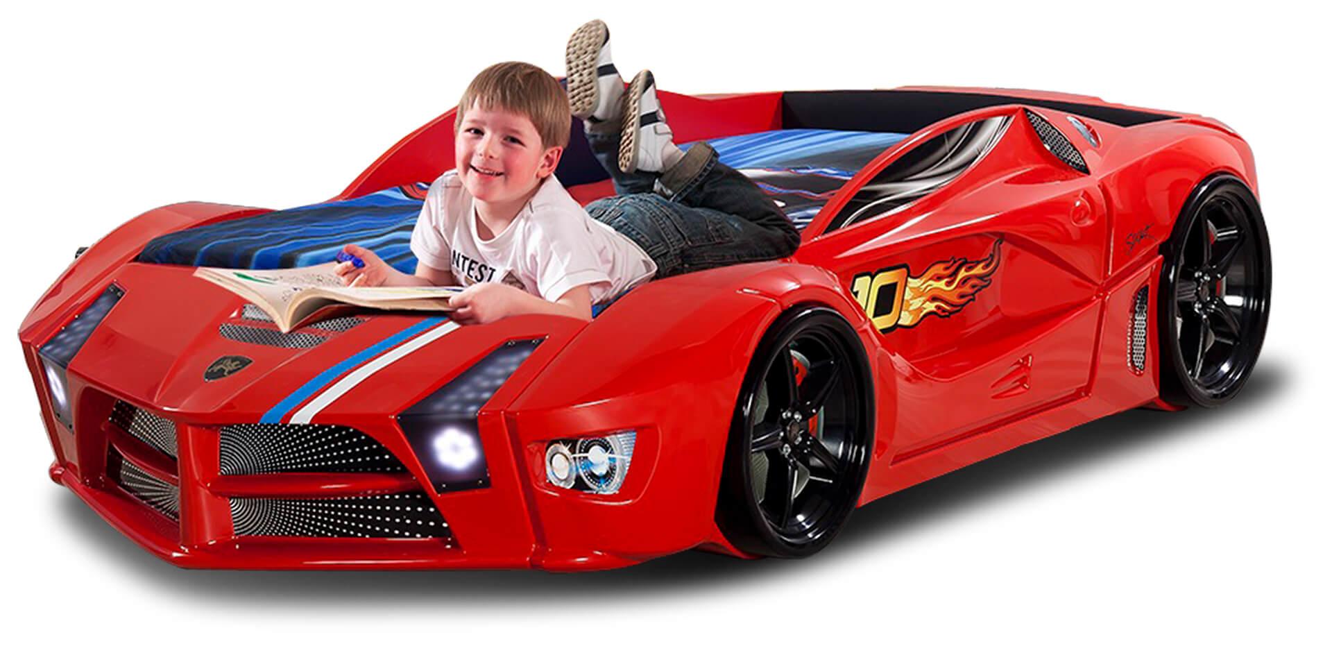 Autobett Luxury Standard in Rot mit LED Scheinwerfern und Sound