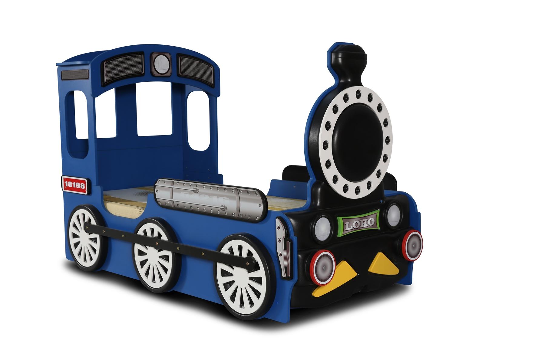 Kinderbett Lokomotive mit Matratze & Lattenrost in Blau