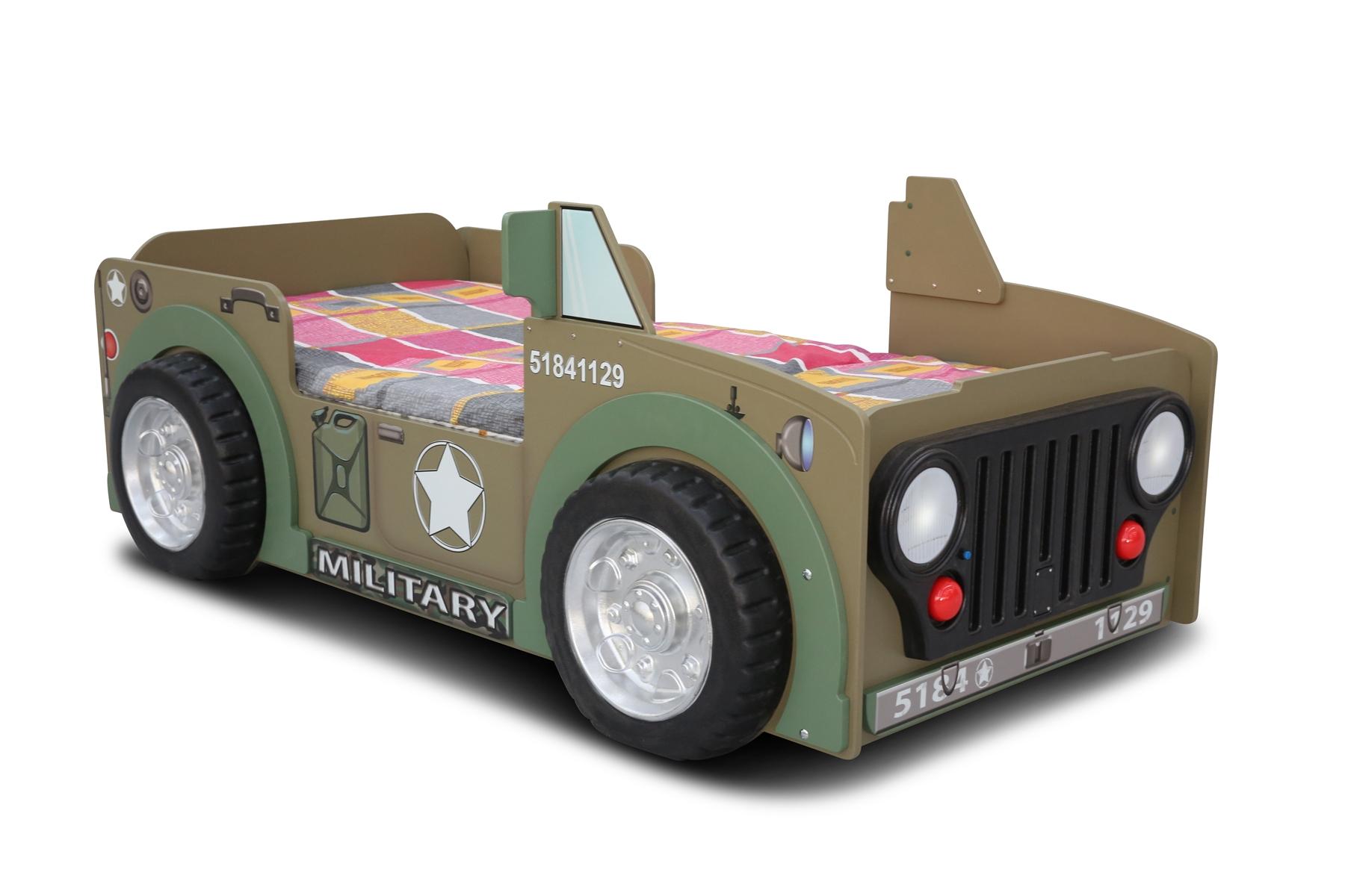 Kinder Autobett Jeepi Militär inkl. Matratze 90x190