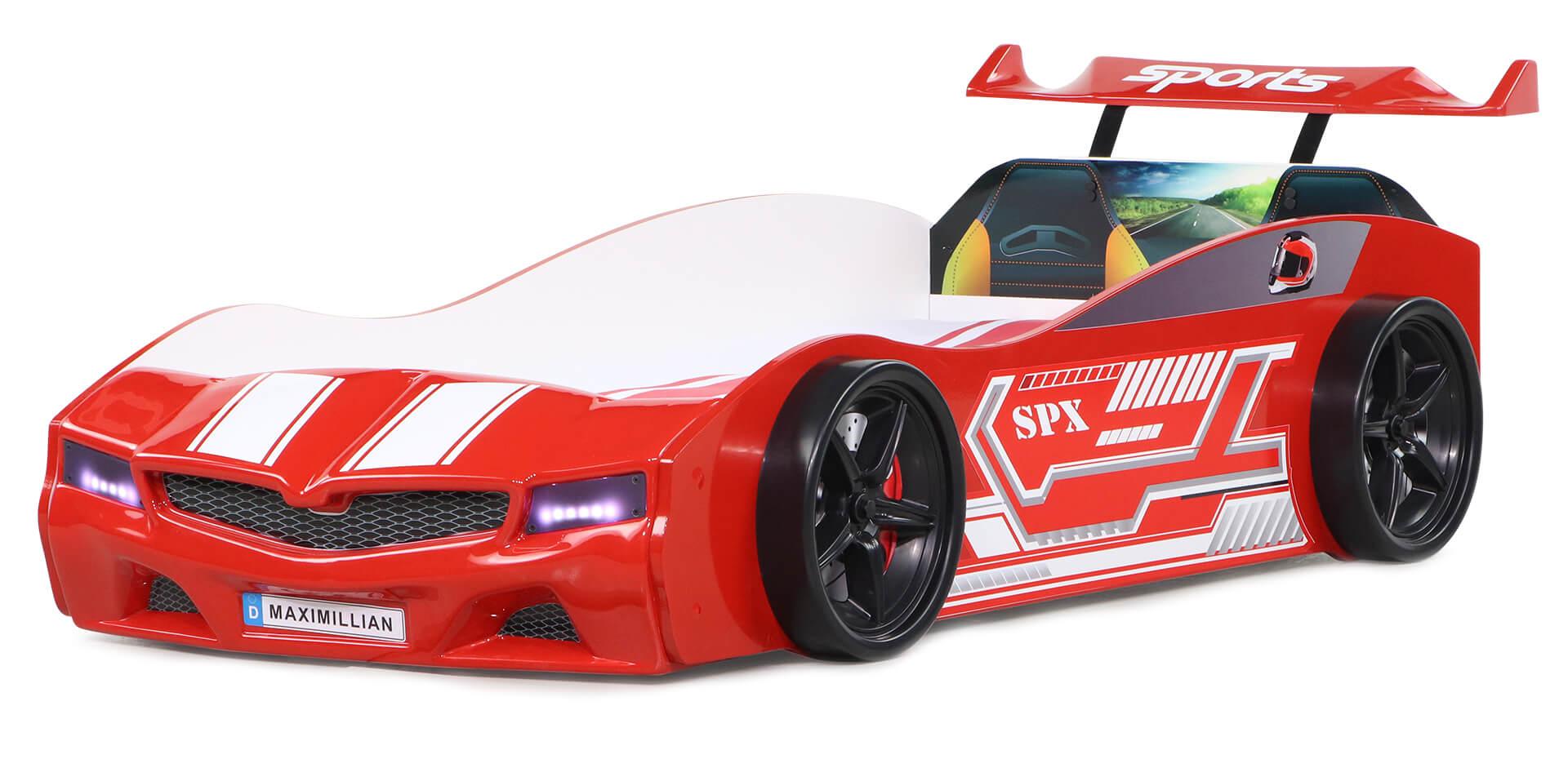 Autobett Bumer SPX rot mit LED Scheinwerfer