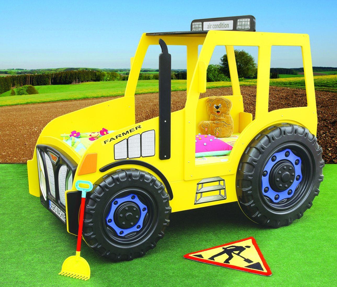 Traktorbett in gelb inklusive Matratze und Rost