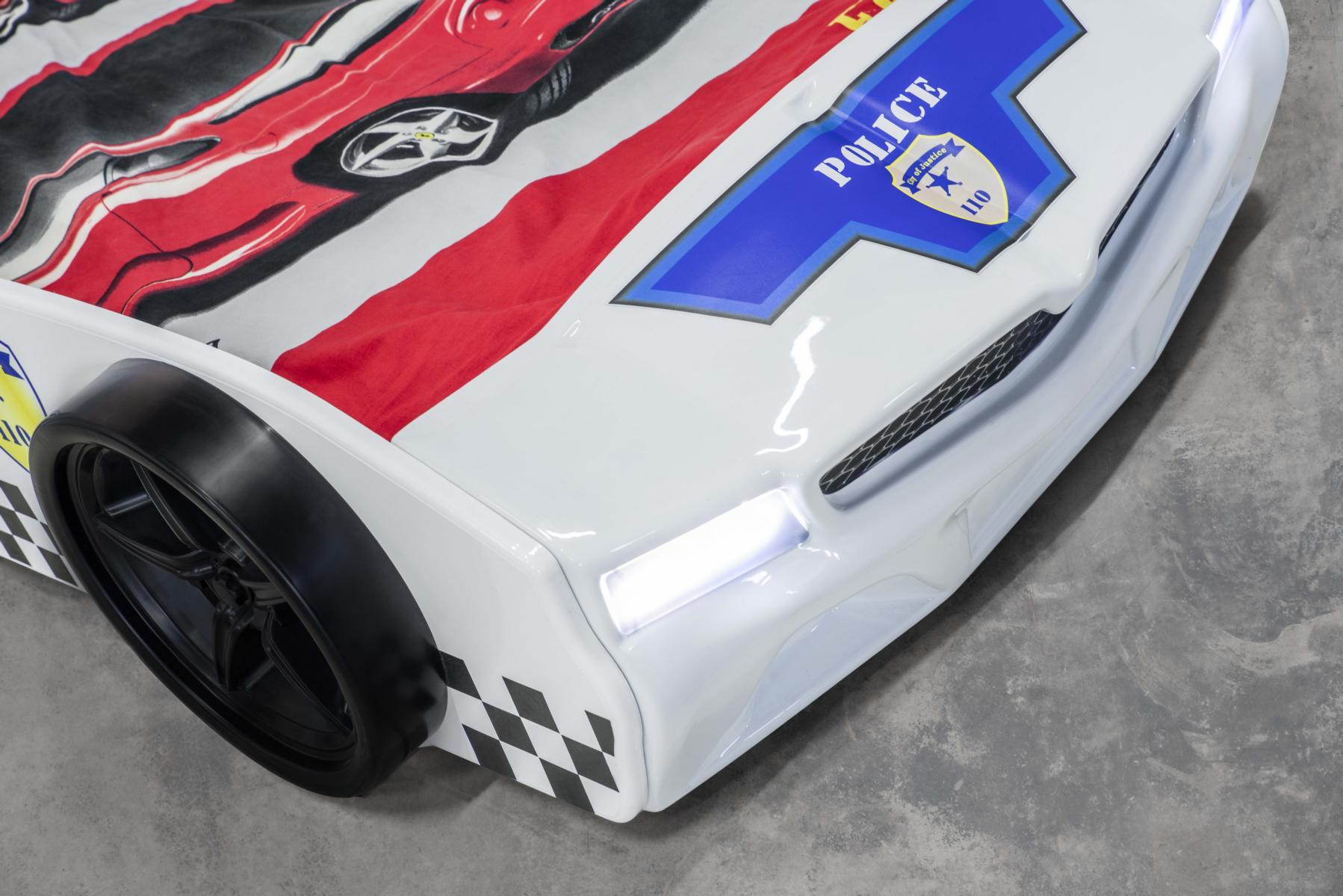 Autobett Kinderzimmer Set Police Weiß 4-teilig