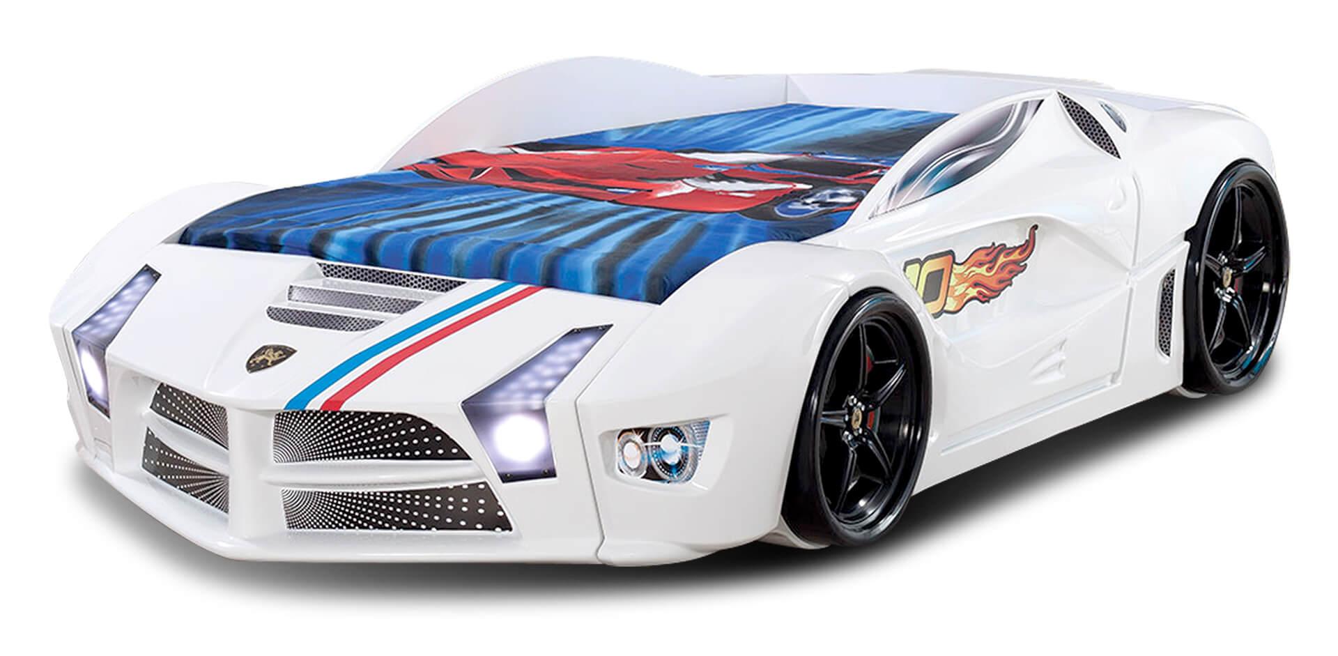 Autobett Luxury Standard in Weiß mit LED Scheinwerfern und Sound