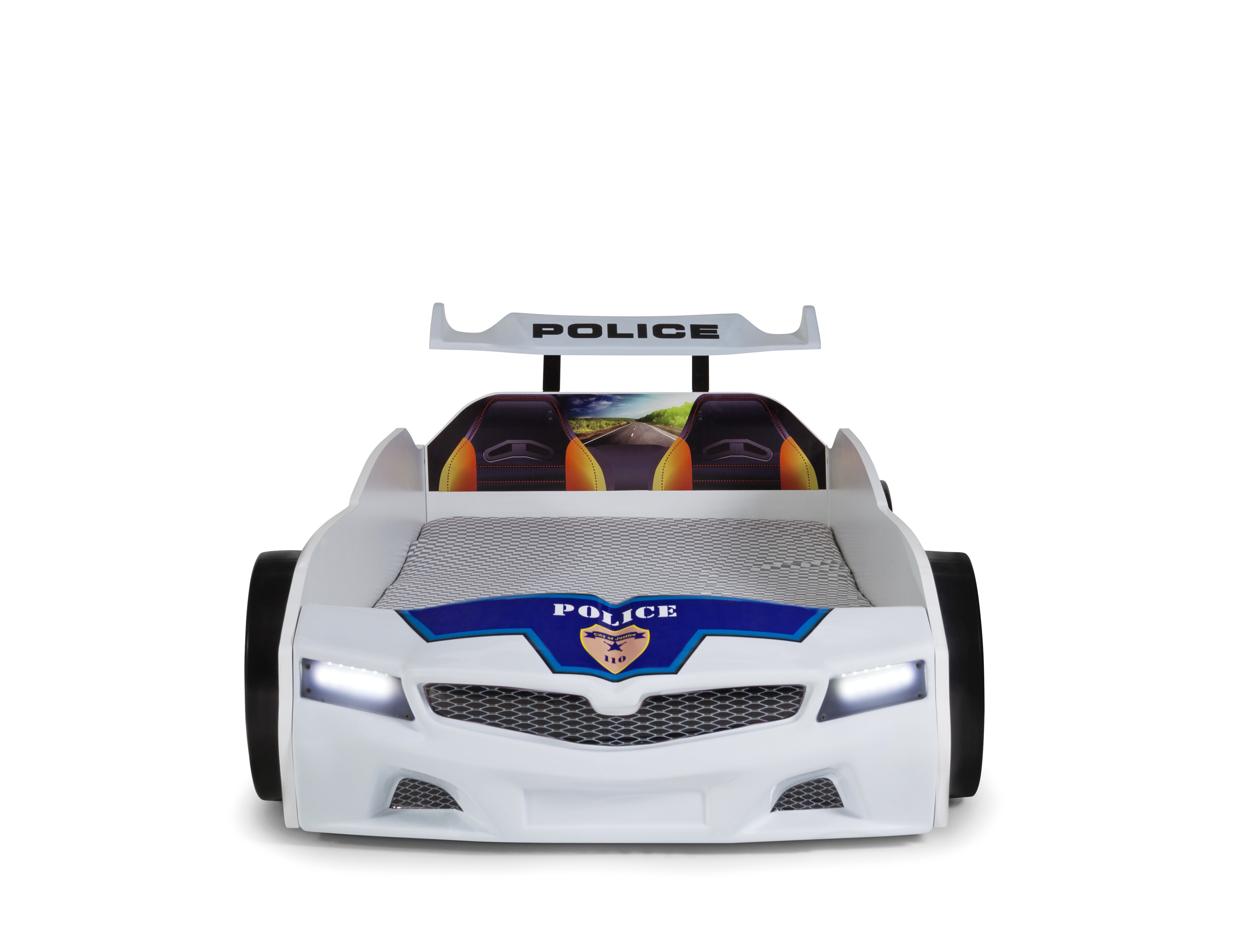 Autobett SPX Police mit blinkendem Blau-Rotlicht