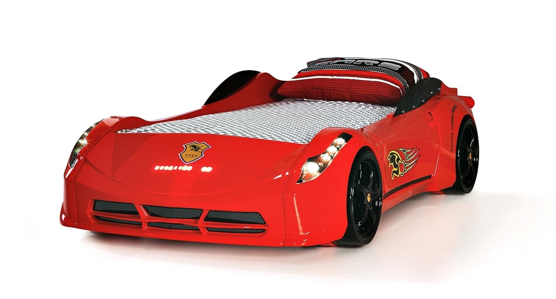 Autobett Komplettzimmer Cat Garage Car in rot-grau Hochglanz