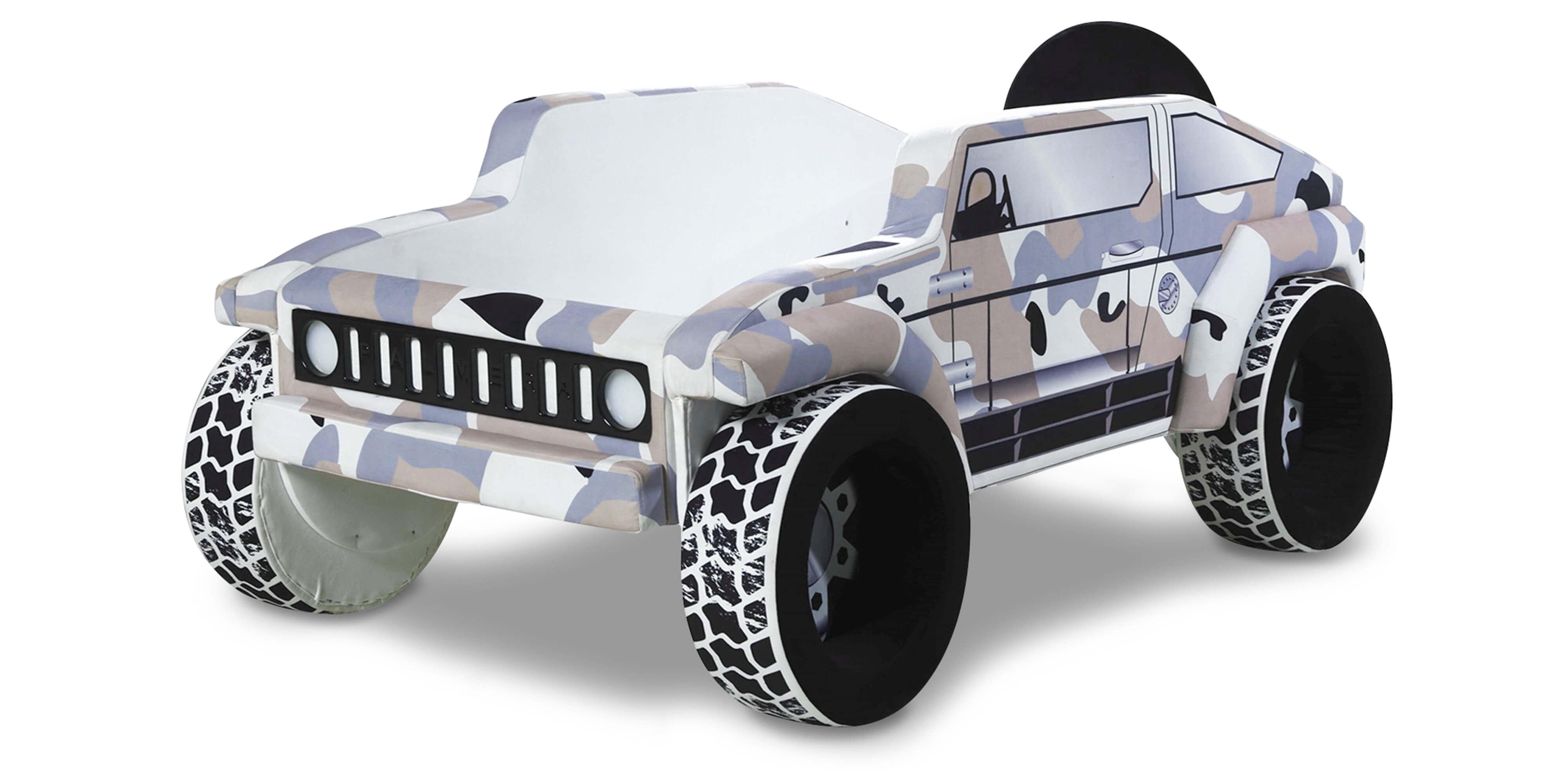 Jeep Autobett in Braun Tarnfarben mit LEDs 90x190