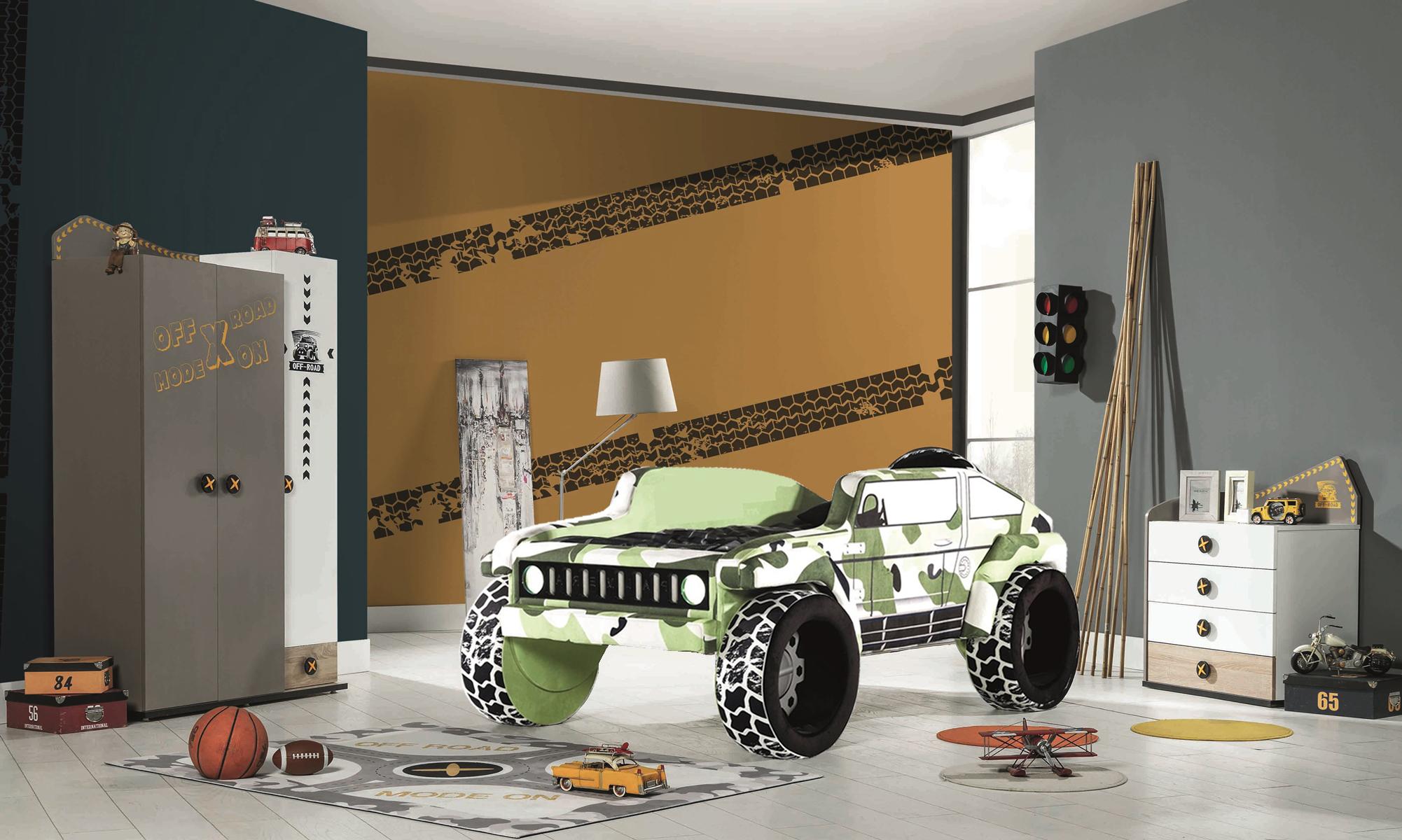 Komplettset Kinderzimmer Jeep Braun 3-teilig LED