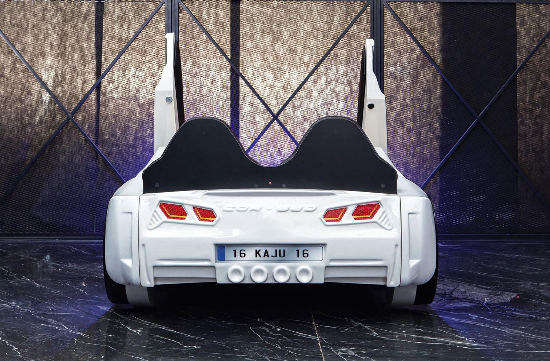 Autobett GT 999 AERO Weiß mit Türen und Sportsitzen