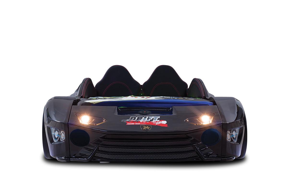 Autobett mit Bluetooth in Schwarz Drift mit LED USB und Sound