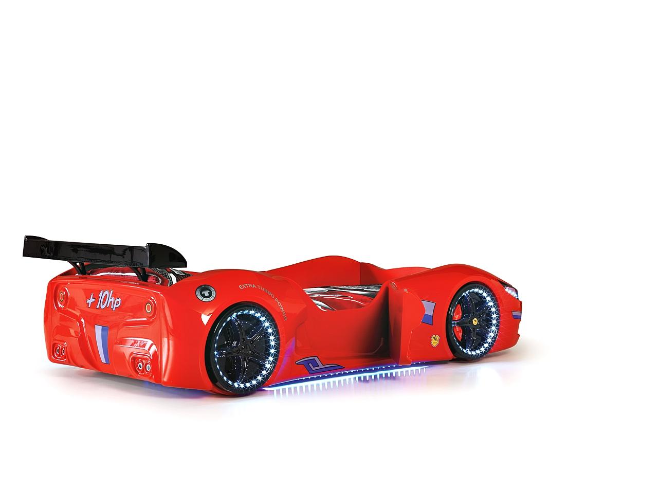 Autobett Cabrio mit Spoiler und Türen in Rot