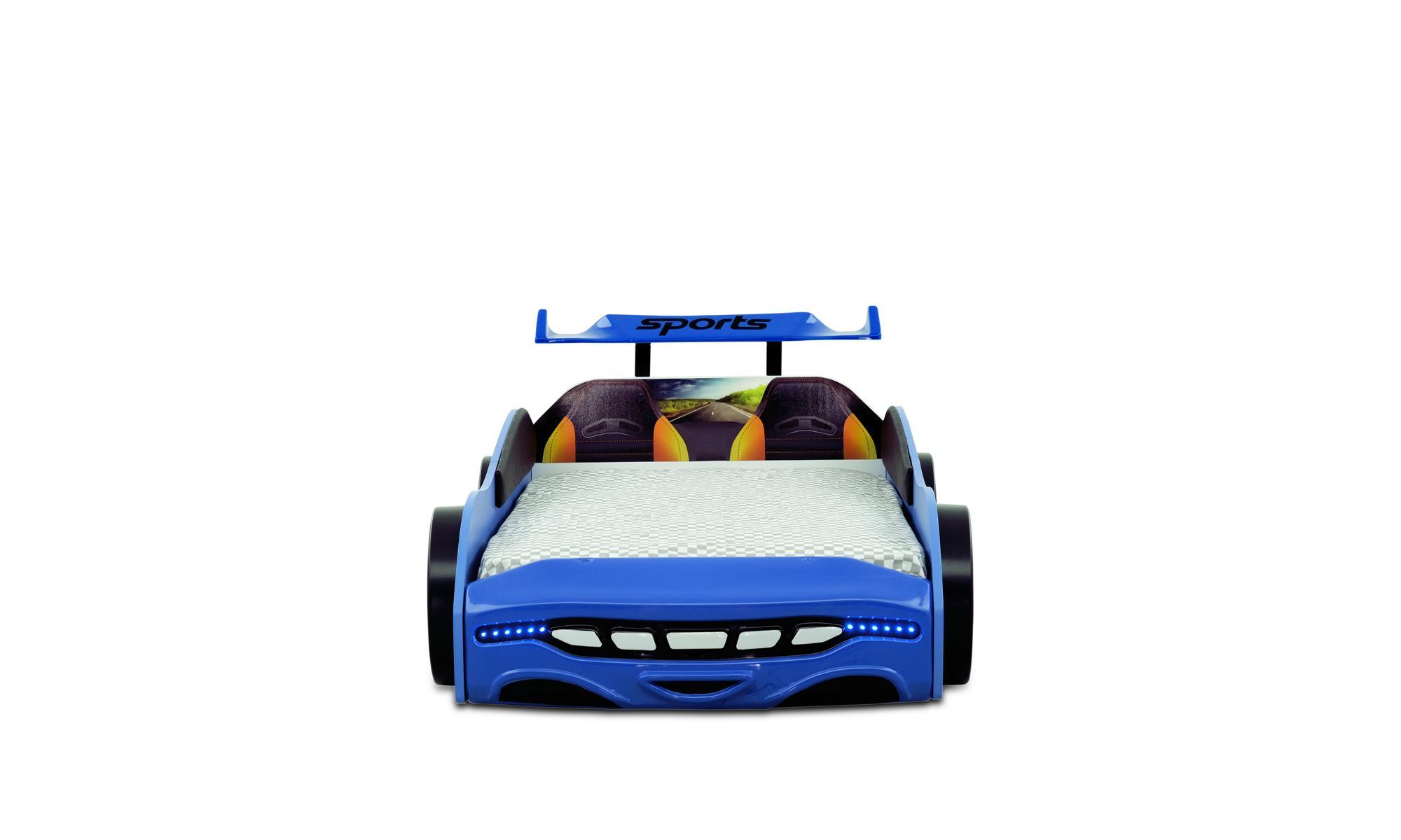 Autobett Kinderbett Sport 2.0 Blau mit Spoiler