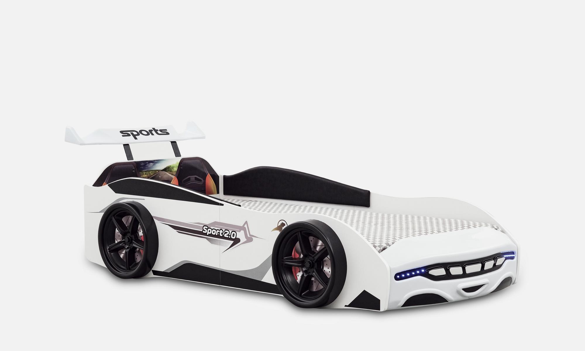 Autobett Kinderbett Sport 2.0 Weiß mit Spoiler