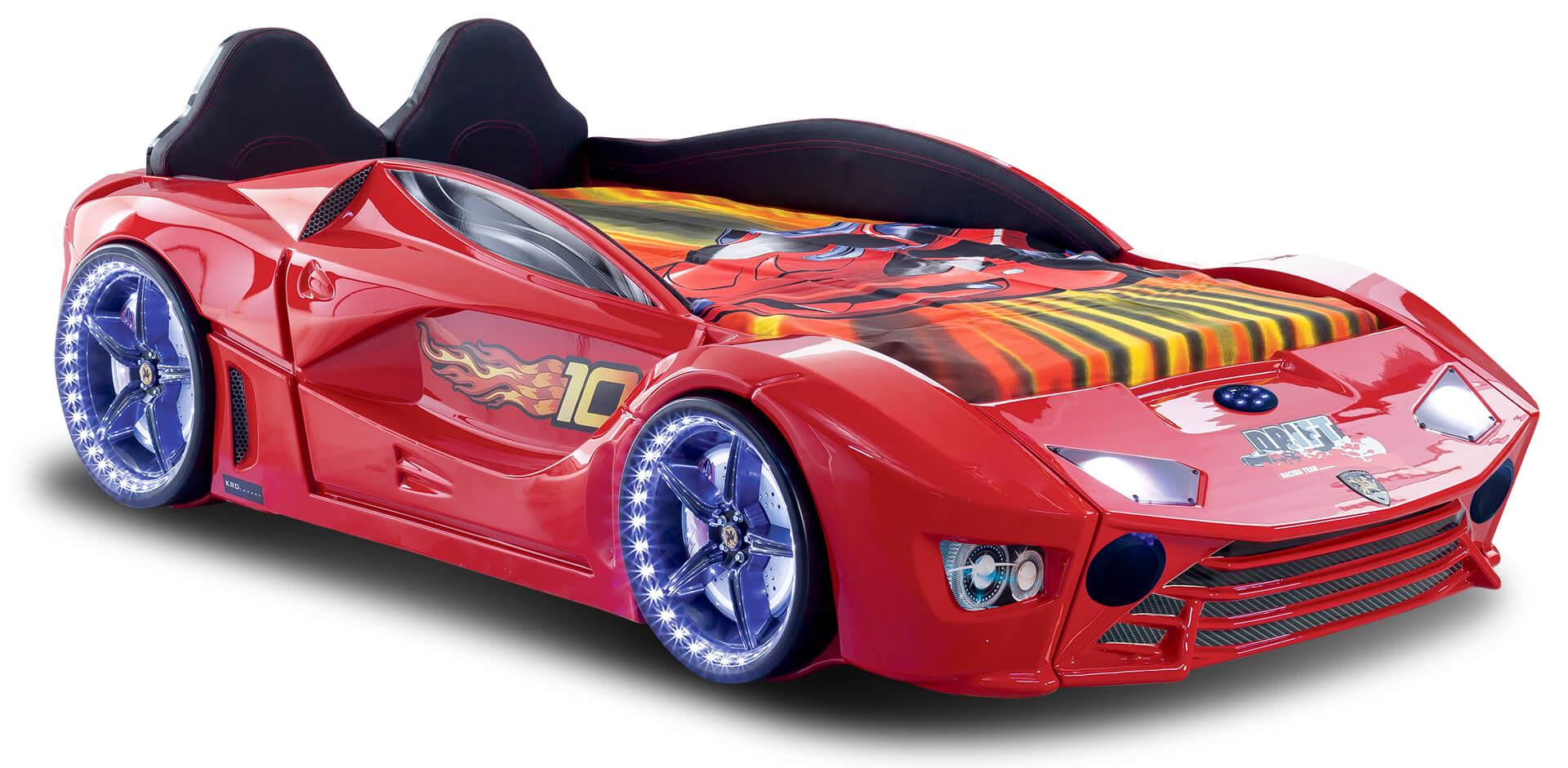 Autobett mit Bluetooth in Rot Drift mit LED USB und Sound