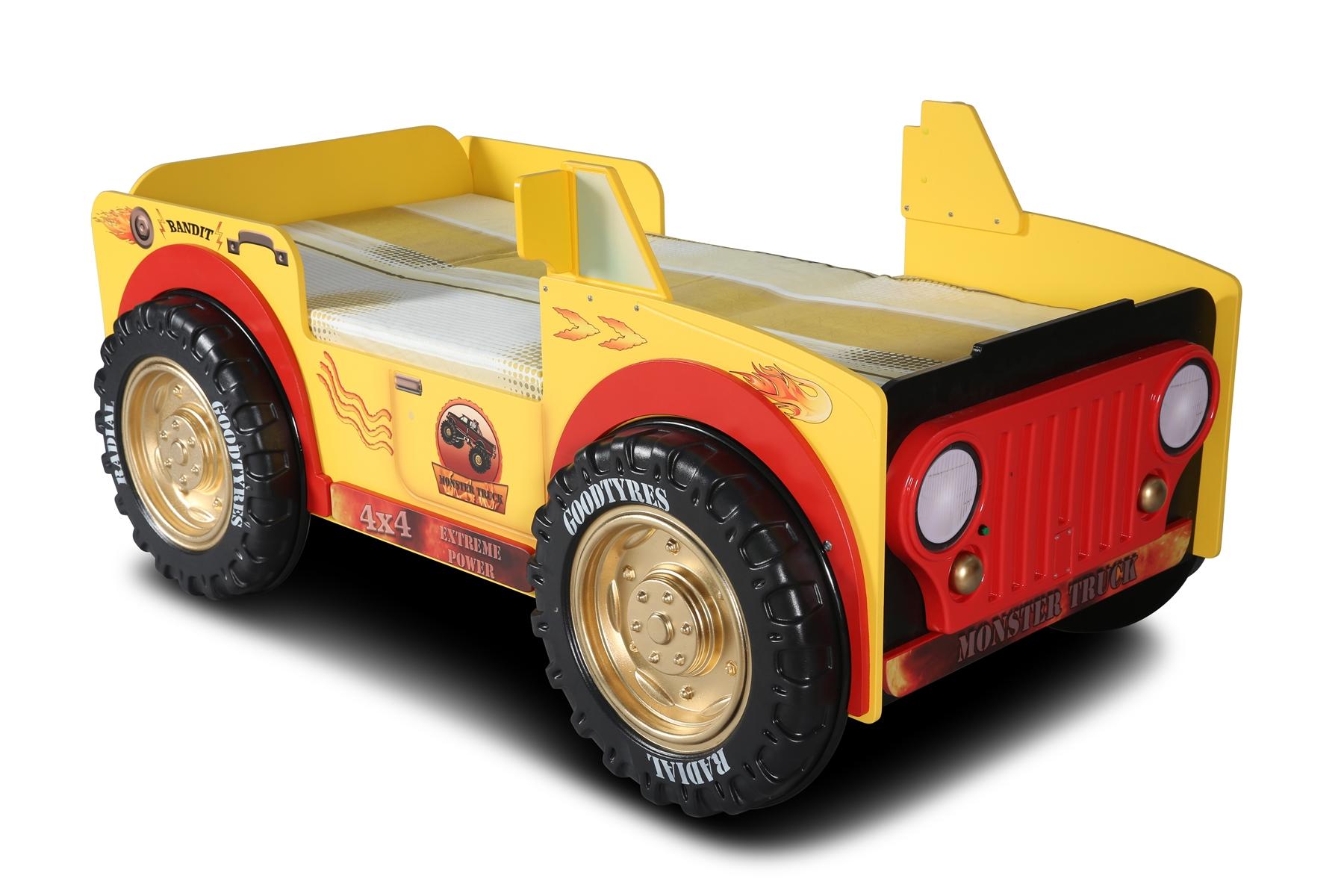 Autobett Monster Truck mit Matratze 90x190 & LEDs