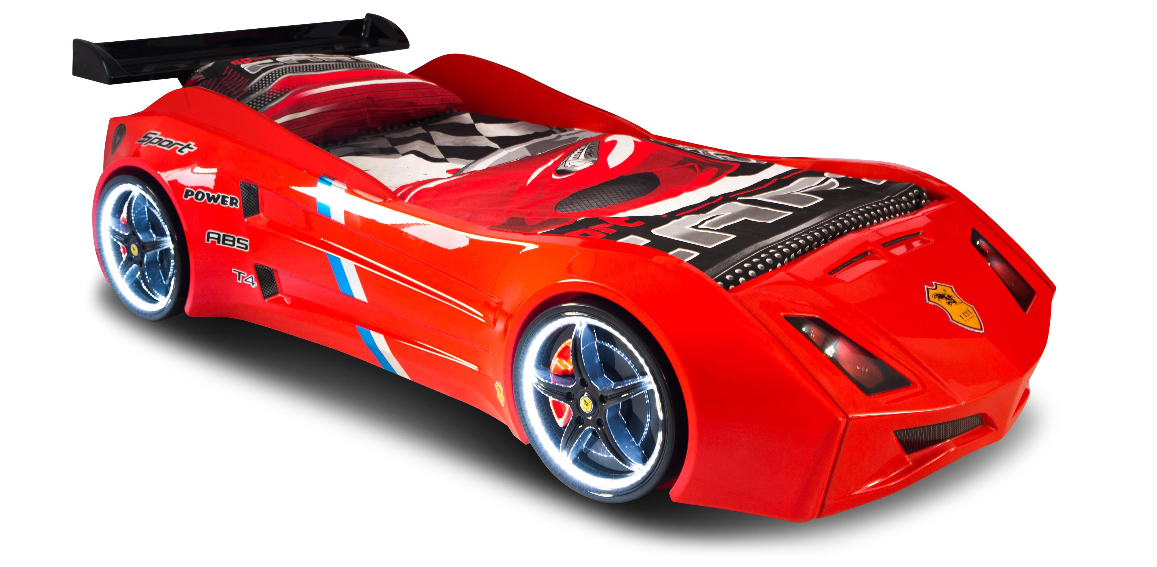 Autobett Cabrio rot mit Spoiler und Türen