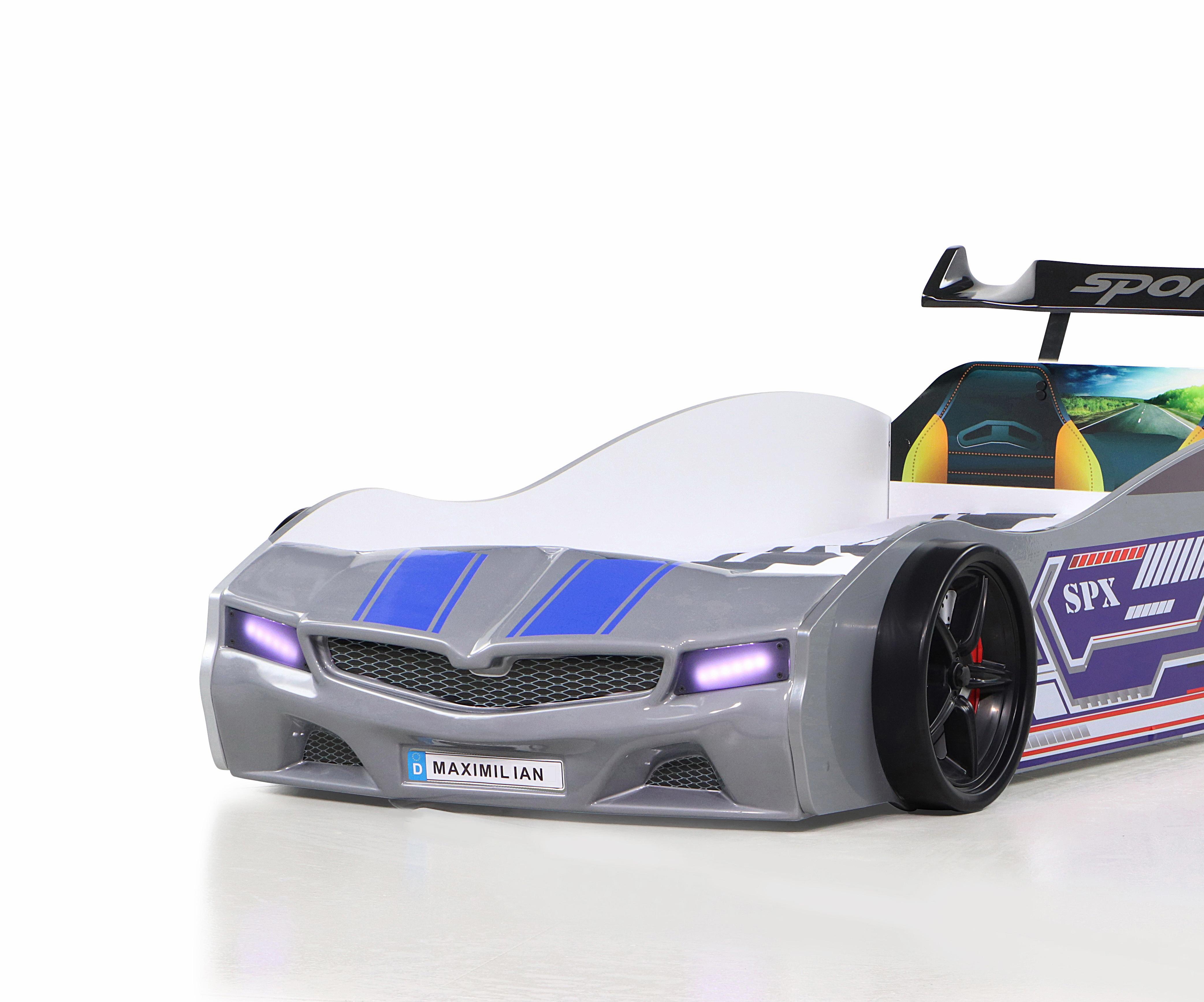 Kinder Autobett Bumer SPX Grau mit LED Scheinwerfer