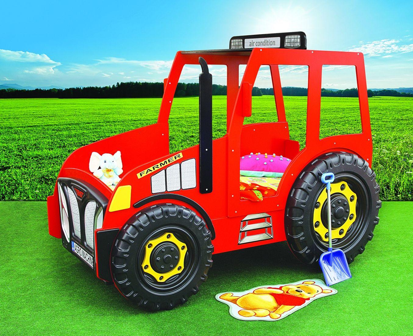 Traktorbett in rot inklusive Matratze und Rost