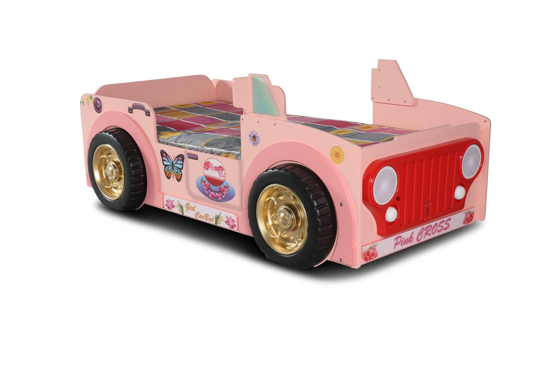 Autobett Jeepi Pink mit LEDs Matratze & Rost