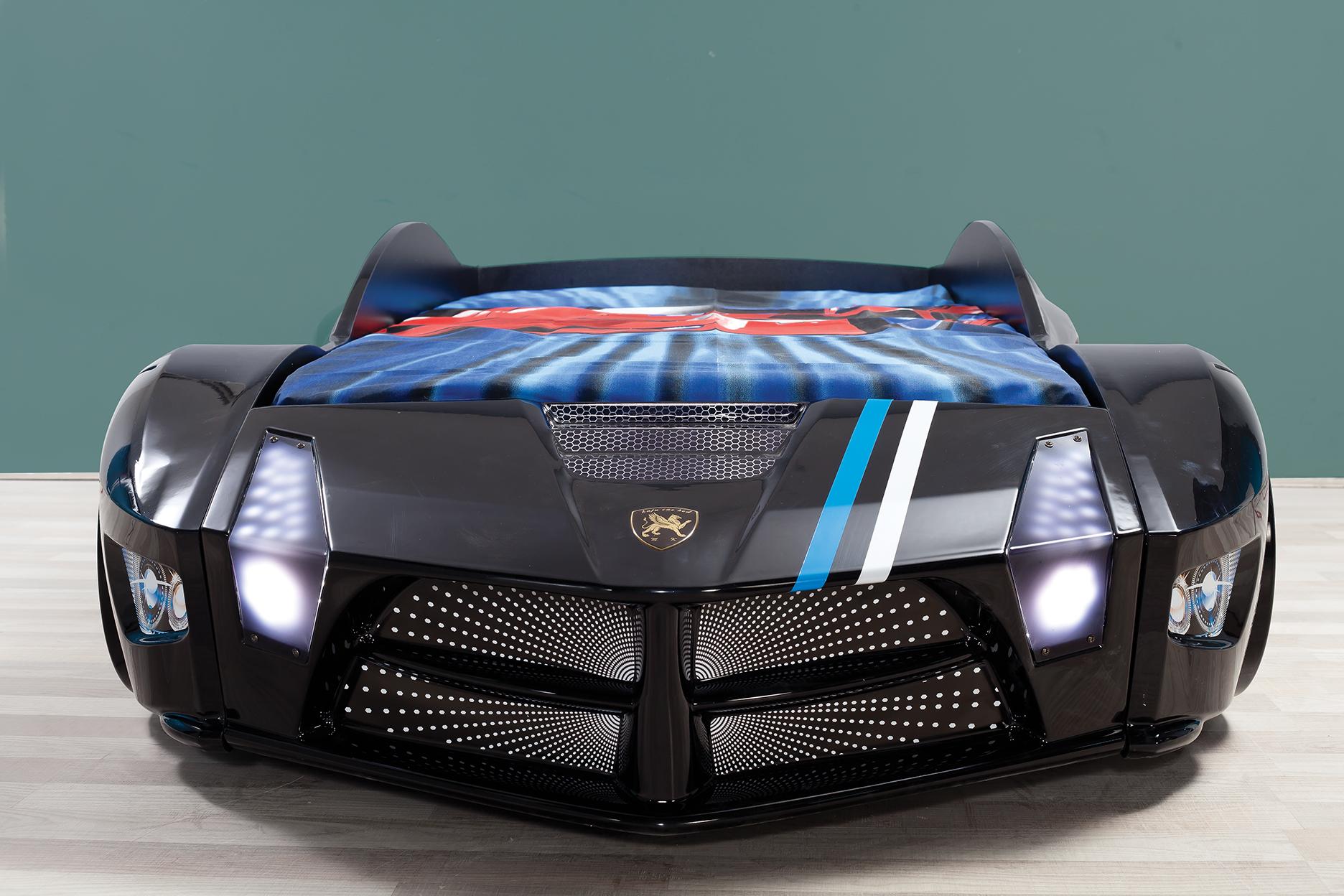 Autobett Luxury Standard in Schwarz mit LED Scheinwerfern und Sound