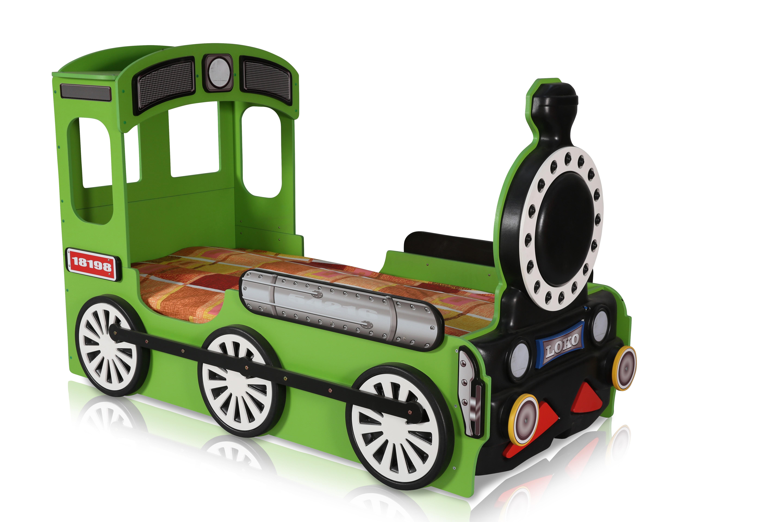 Lokomotive Kinderbett Grün inklusive Matratze 90x190