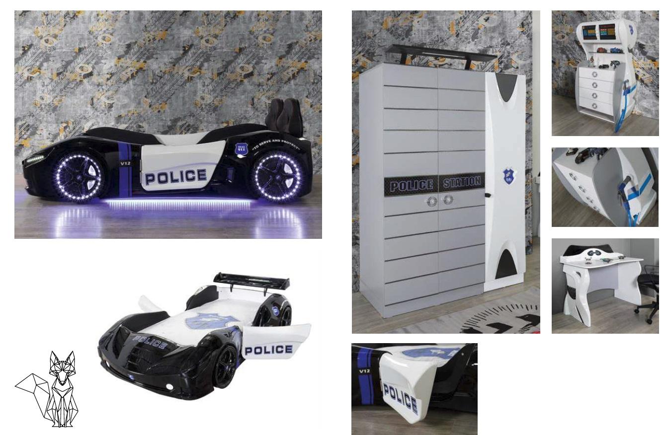 Titi Autobett Kinderzimmer Police mit Sirene 6-teilig