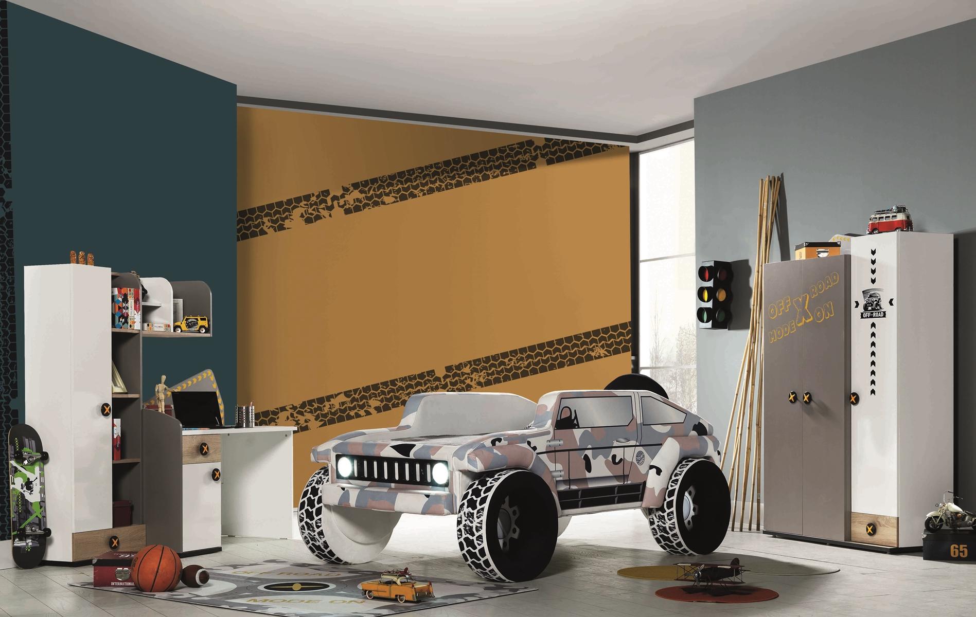 Autobettzimmer Set Jeep Grün 5-teilig gepolstert LEDs