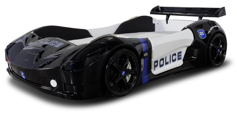 Autobett Kinder Police mit Spoiler und Sirene