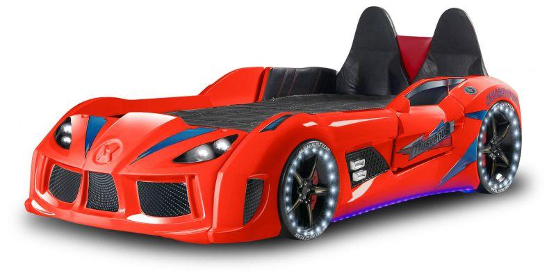Autobett MVN Bumer Rot mit Türen und Sportsitzen