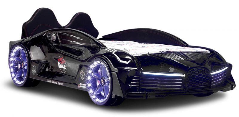 Autobett Moon Schwarz mit Polstersitzen LED Scheinwerfer