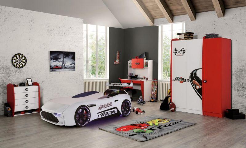 Autobettzimmer Set GT18 Extreme Grand Prix 5-Teilig Weiß