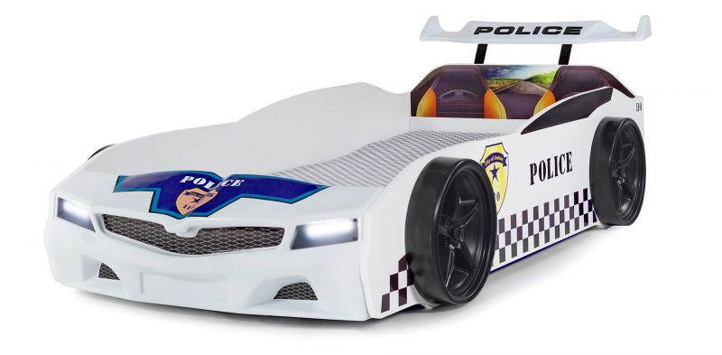Autobett Police mit blinkendem Blau-Rotlicht