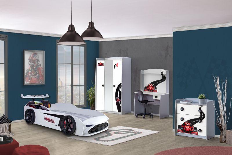 Autobett Kinderzimmer GT18 4x4 Turbo 4-teilig in Weiß