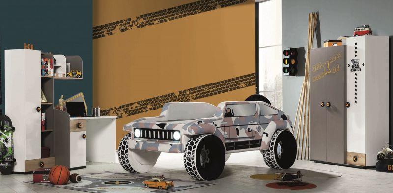 Autobettzimmer Set Jeep Braun 5-teilig gepolstert LEDs