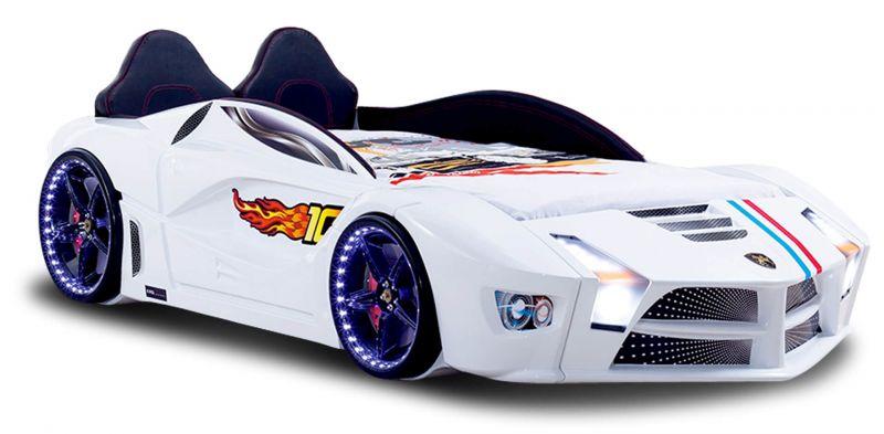 Autobett in Weiß Luxury mit LED Beleuchtung