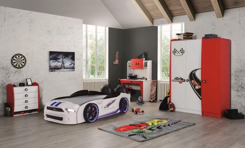 Autobettzimmer Set Must Rider Grand Prix 5-teilig in Weiß